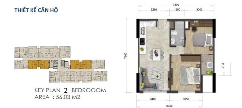 Mặt bằng căn hộ Mizuki Park 56.03 m2 – 2 Phòng Ngủ