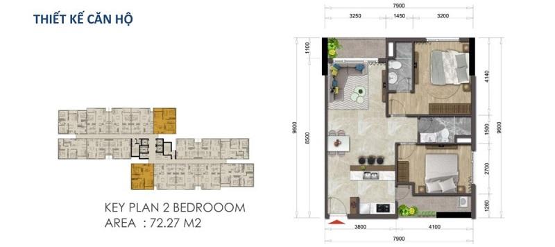 Mặt bằng căn hộ Mizuki Park 72.27 m2 – 2 Phòng Ngủ
