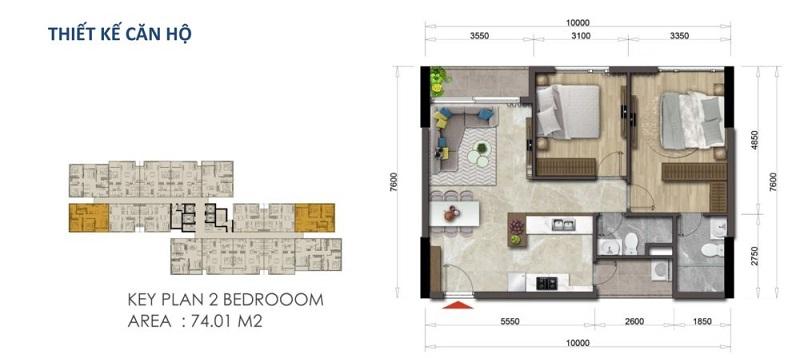 Mặt bằng căn hộ Mizuki Park 74.01 m2 – 2 Phòng Ngủ