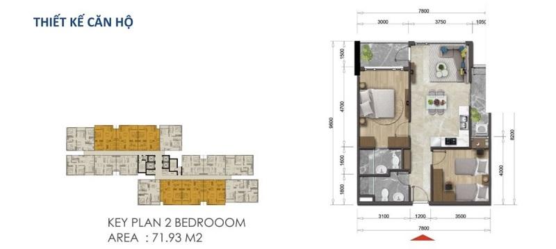 Mặt bằng căn hộ Mizuki Park 71.93 m2 – 2 Phòng Ngủ