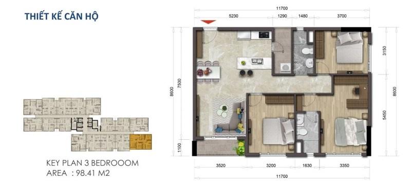 Mặt bằng căn hộ Mizuki 98.41 m2 – 3 Phòng ngủ