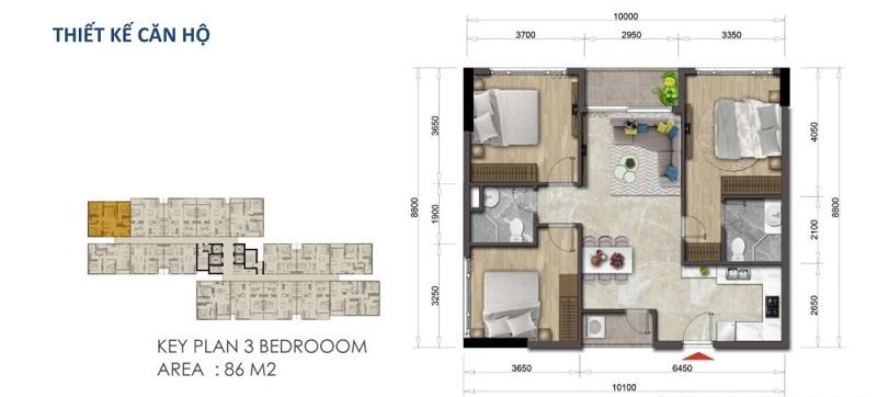 Mặt bằng căn hộ Mizuki Park 86 m2 – 3 Phòng Ngủ